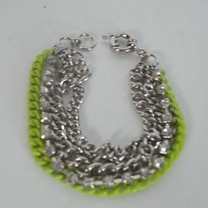 J.Crew Lime Enamel Silver Crystal Bracelet NWOT